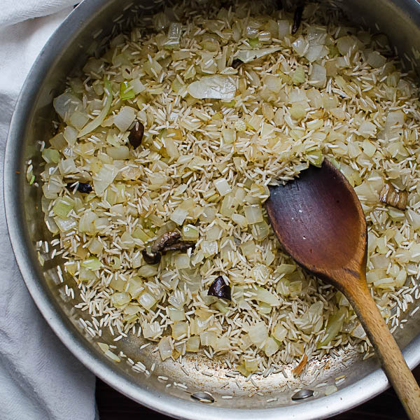 sauteeing rice and onions