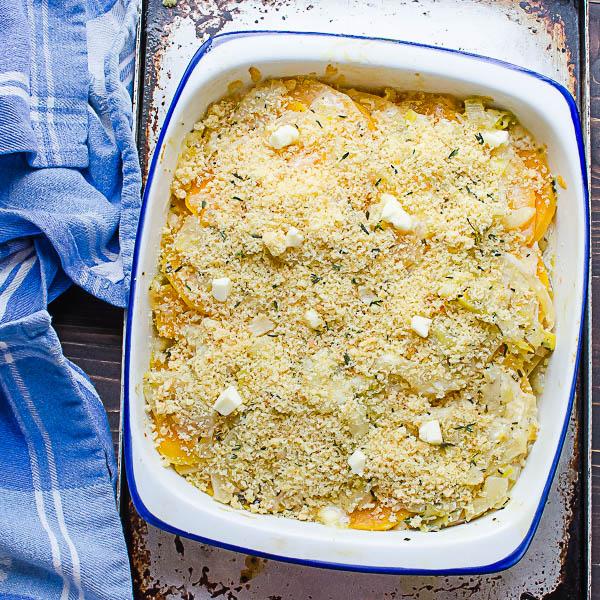 Add Breadcrumbs to Tender Butternut Rutabaga Gratin