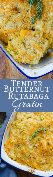 Tender Butternut Rutabaga Gratin is an easy, healthy side dish with a cheesy interior and a crumb topping!