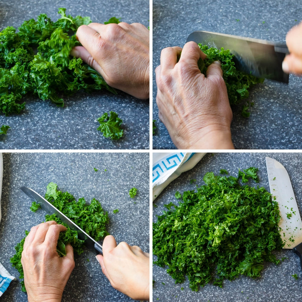 a series of images showing how to massage and finely chop the kale.