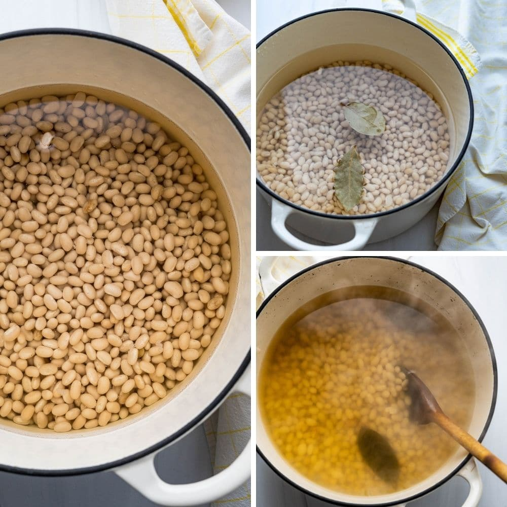 soaking and cooking the dried white beans.
