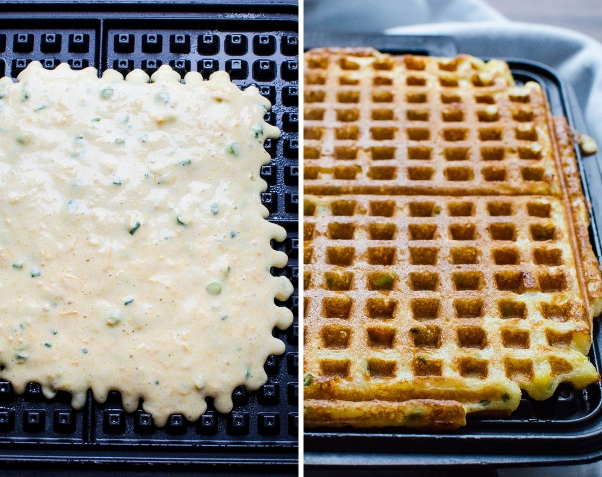 cooking waffles on a griddle.