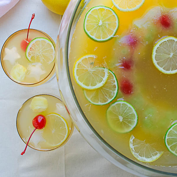 serving Pineapple Green Tea Punch