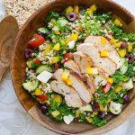 Chicken Kale Farro Salad with Honey Balsamic Dressing