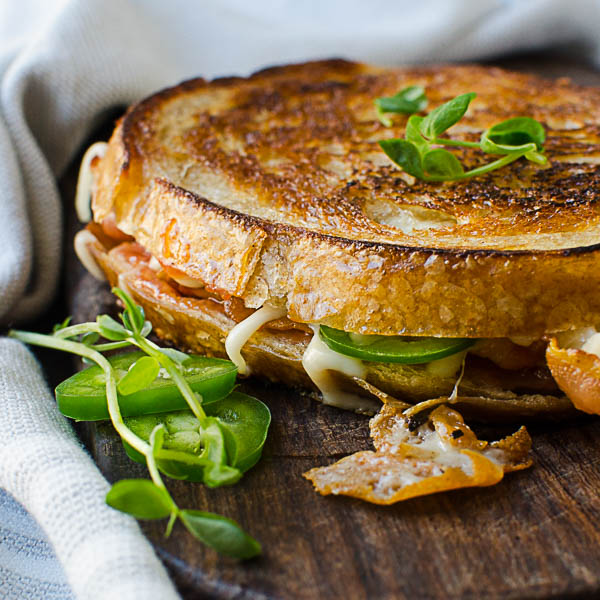 Crispy Pancetta Guava Grilled Cheese ready to eat