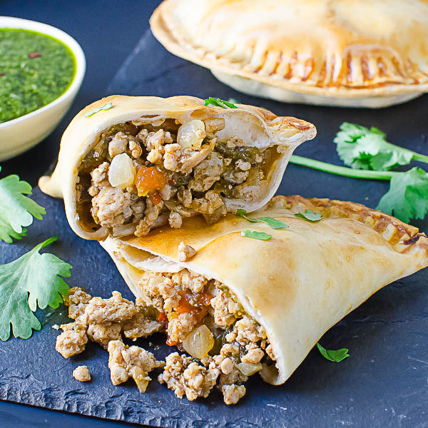 close up of Hatch Chile Pork Empanada