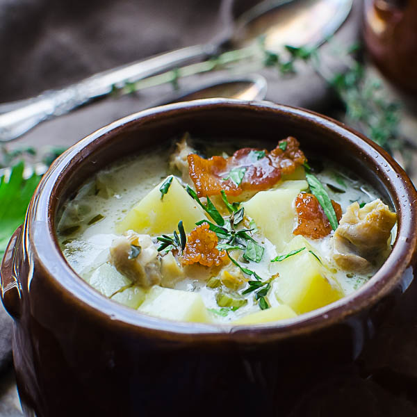 Closeup of Authentic New England Clam Chowder