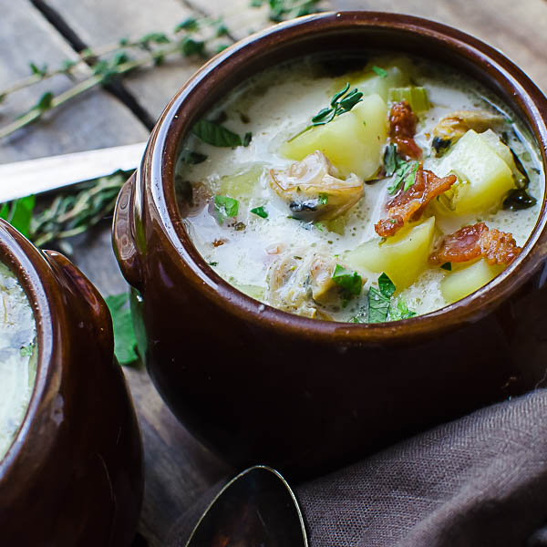 Authentic New England Clam Chowder in a bowl