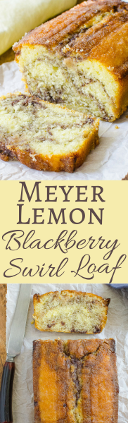 This easy recipe for Meyer Lemon Loaf Cake comes with a twist! A luscious swirl of blackberry jam! A most decadent tea cake!
