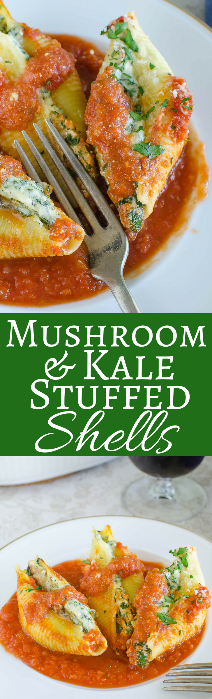 If you love stuffed shells, you'll love this recipe for Mushroom Kale Stuffed Shells!  The ultimate Italian comfort food!