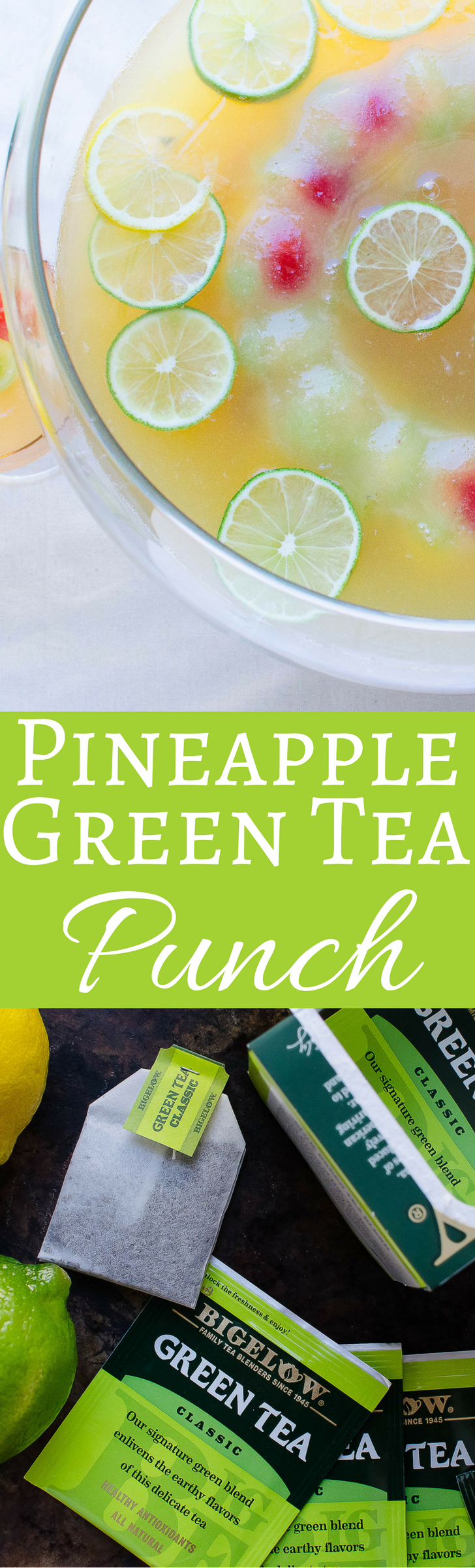 This bright, citrusy pineapple green tea punch is a terrific non-alcoholic option for your next party.  Serves a crowd!