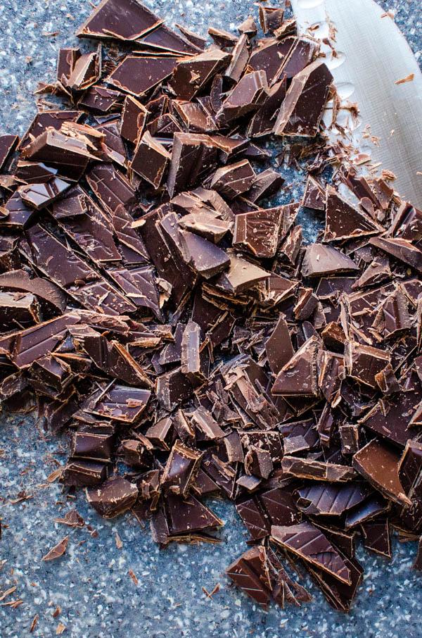 chopping dark chocolate.