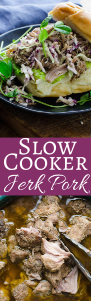 This easy recipe for fiery Jerk Pork is made in your Slow Cooker and feeds a crowd! Makes the best jerk pork sandwiches with creamy coleslaw!