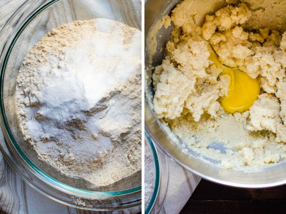 creaming sugar and butter and combining dry ingredients.