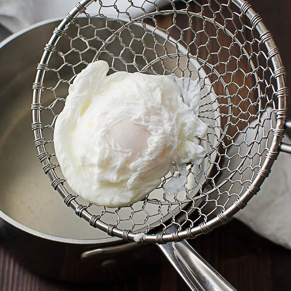 Draining the poached egg