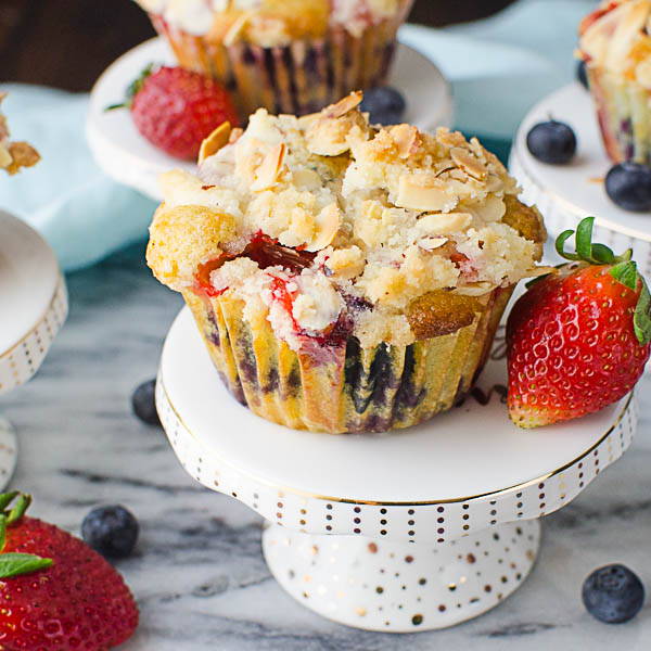 Individual Berry Streusel Coffeecakes on a pedestal