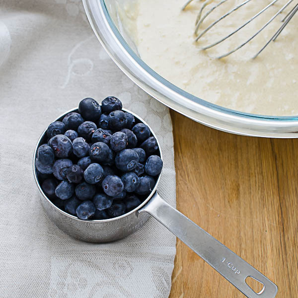 adding blueberries