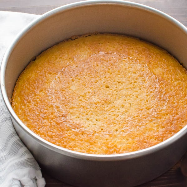 baked yellow cake in a pan.