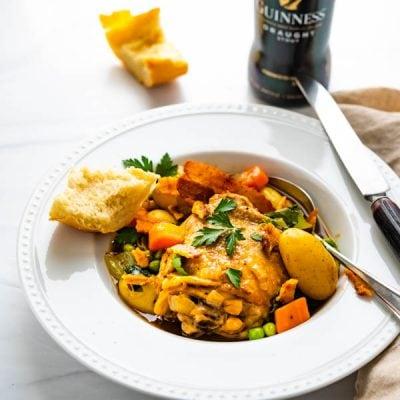 One Pot Irish Stout Braised Chicken Thighs