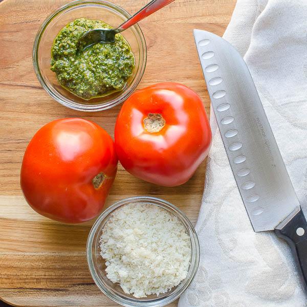 tomatoes, pesto & breadcrumbs
