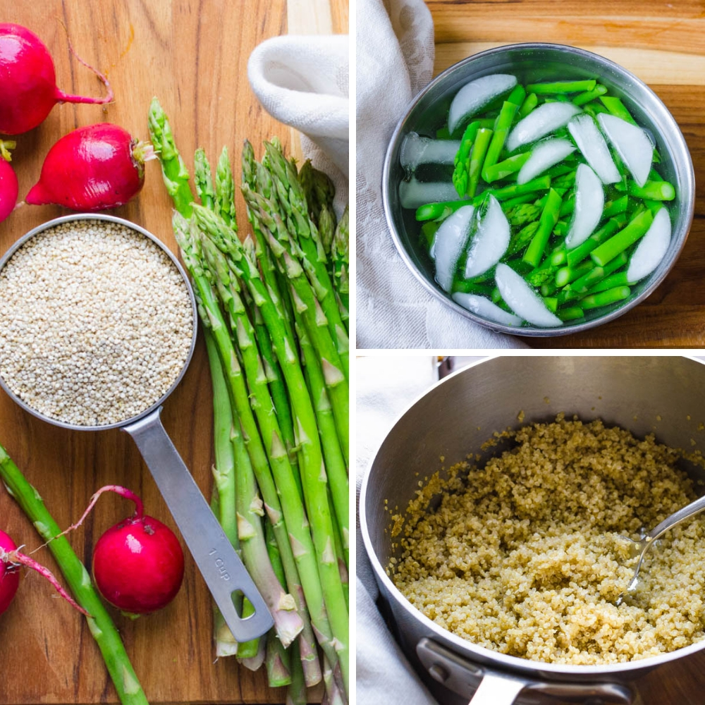 process of blanching and shocking asparagus and cooking the quinoa