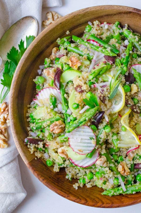 serving the asparagus quinoa salad.