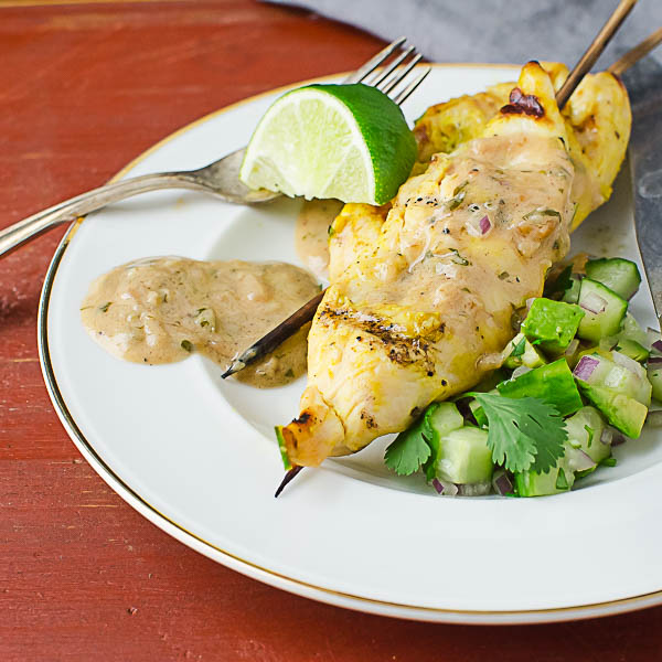 Chicken Sate with Cucumber Avocado Relish with lime