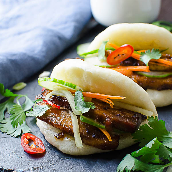 Bulgogi Pork Belly Bao on a platter.