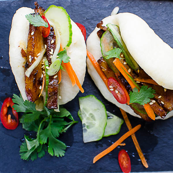 Overhead shot of Bulgogi Pork Belly Bao.
