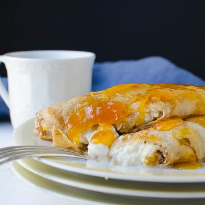 Whole Wheat Apricot Ricotta Crepes