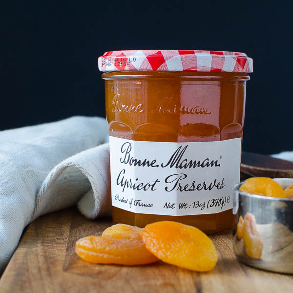 Bonne Maman Apricot Preserves and dried apricots