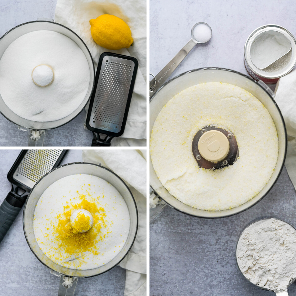 mixing lemon zest and sugar in a food processor.