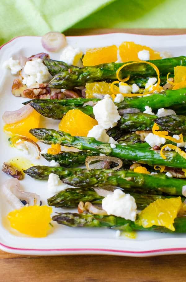 Serving asparagus side dish.