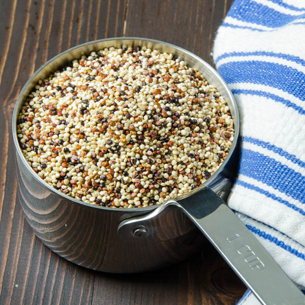 a cup of uncooked quinoa for cranberry quinoa salad