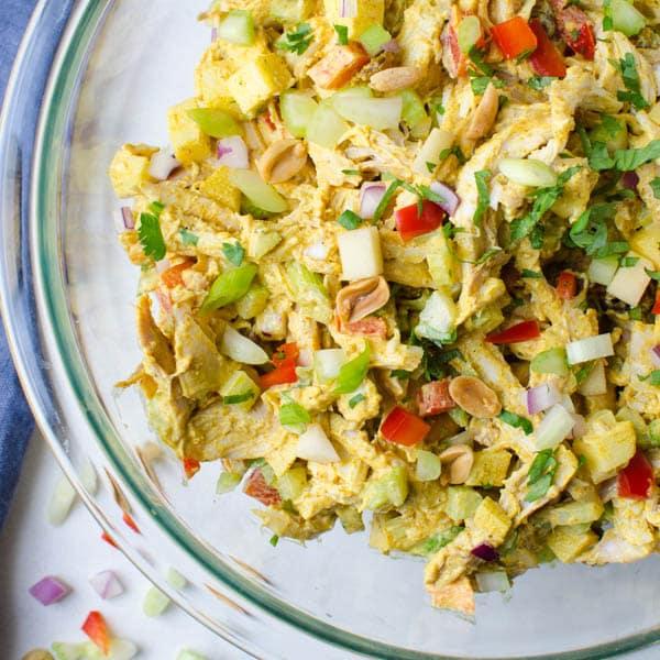 rotisserie chicken salad with garnish.