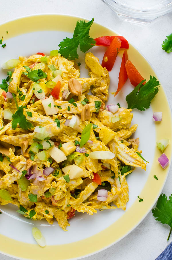 curried chicken salad on a plate.