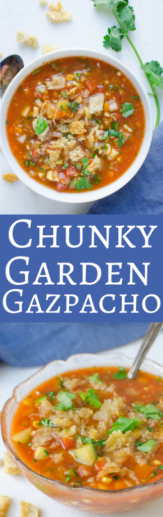 Loaded with veggies, this easy gazpacho recipe is cool and refreshing! Perfect for summer!