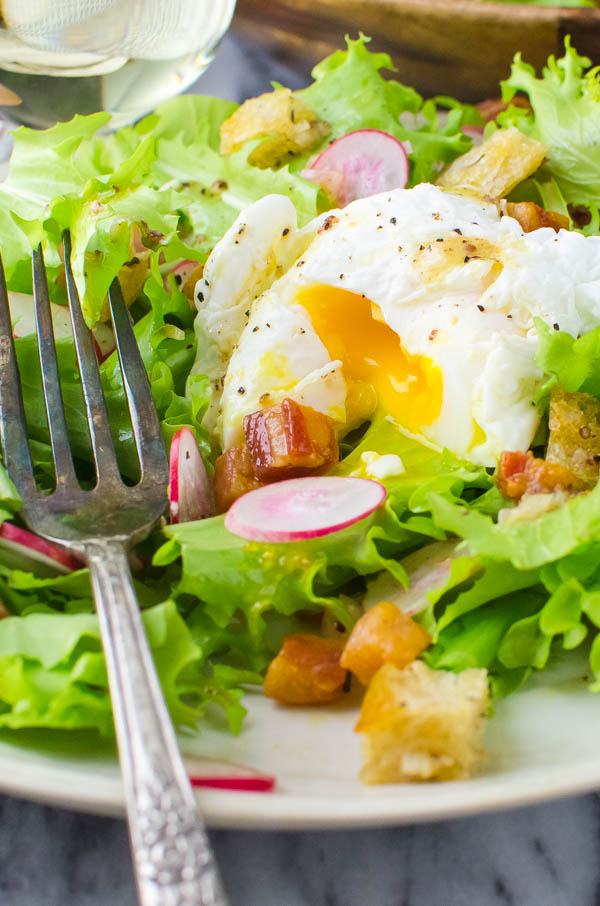 frisee salad with poached egg.