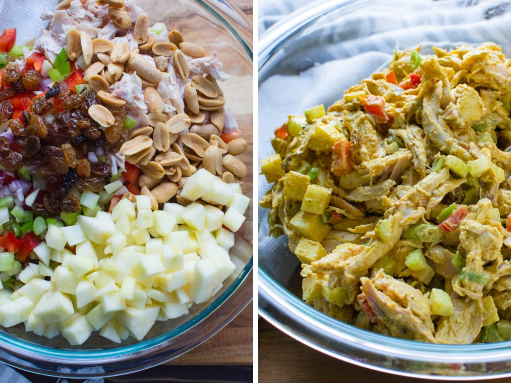 mixing dressing into curry chicken salad with apples.