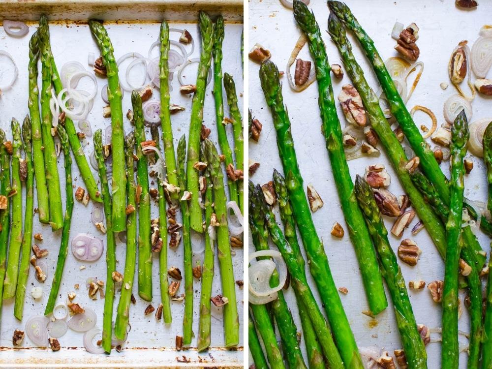 pan roasting asparagus, shallots and pecans.
