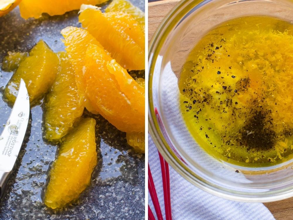 segmenting oranges and making citrus dressing