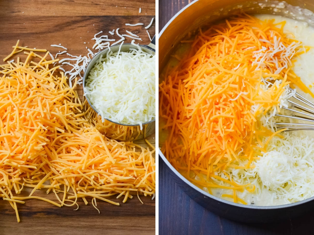two types of cheese for the grits.