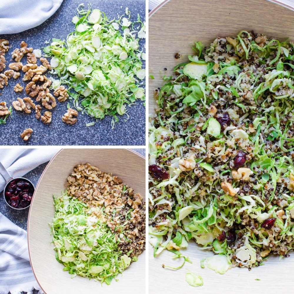 combining the raw brussels sprouts cranberry quinoa salad in a bowl.