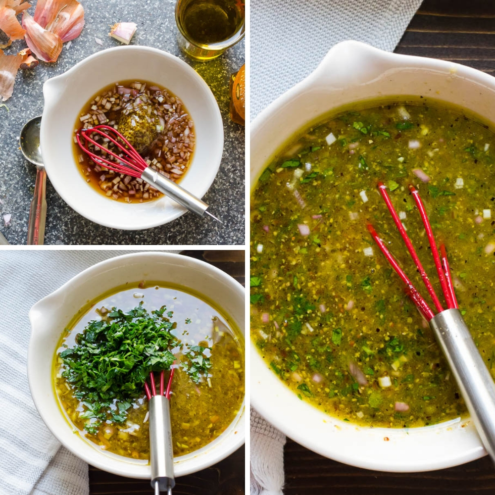 steps to making the dressing for shaved brussels sprouts recipe.