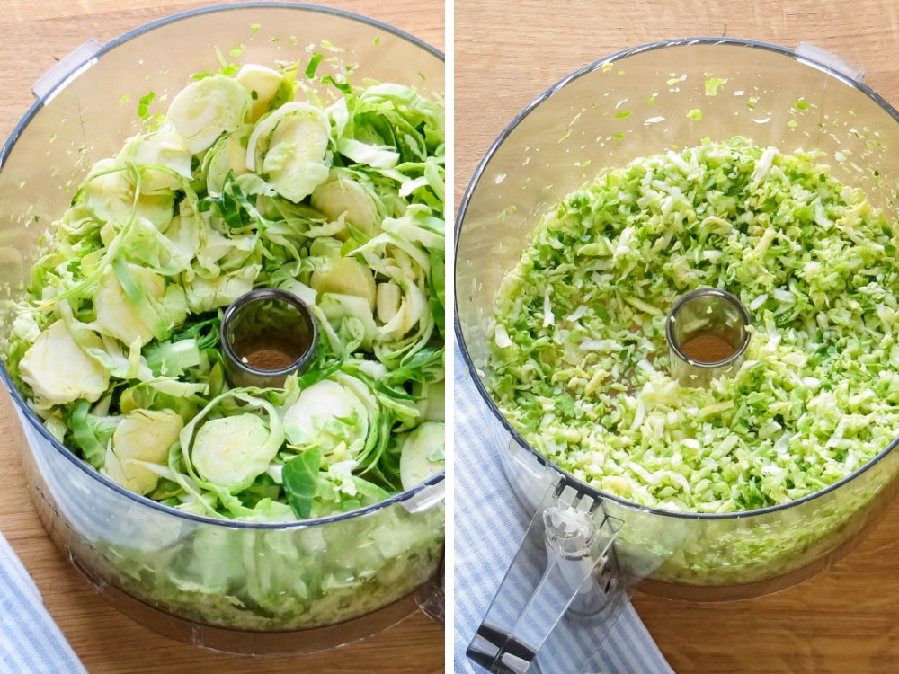 Food processor method for shredded brussels sprouts salad.