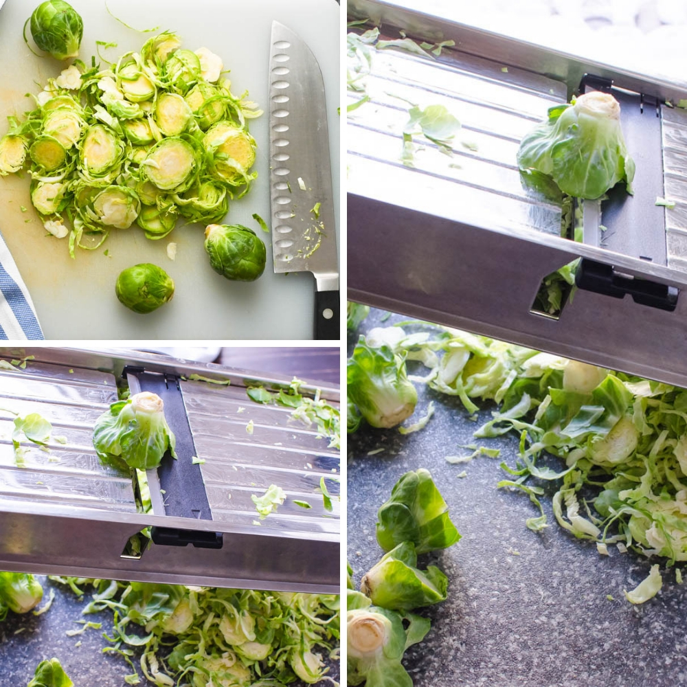 Methods for how to shave brussels sprouts for shaved brussels sprouts recipe.