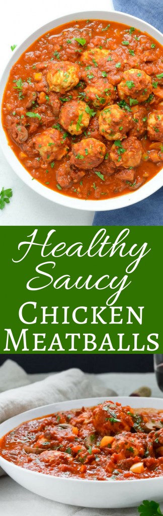 Kids love this healthy meatball recipe, made with ground chicken and hidden vegetables. These healthy saucy chicken meatballs are great over pasta, spaghetti squash or zoodles plus it's an easy ground chicken recipe. #chicken #groundchicken #chickenmeatballs #groundchickenmeatballs #healthychickenmeatballs #bestchickenmeatballs #chickenminceballs #healthymeatballrecipe #zucchini #onions #parmesan #mushrooms #tomatosauce #spaghettisauce #marinarasauce #marinara #italianrecipe #spaghetti #spaghettiandmeatballs
