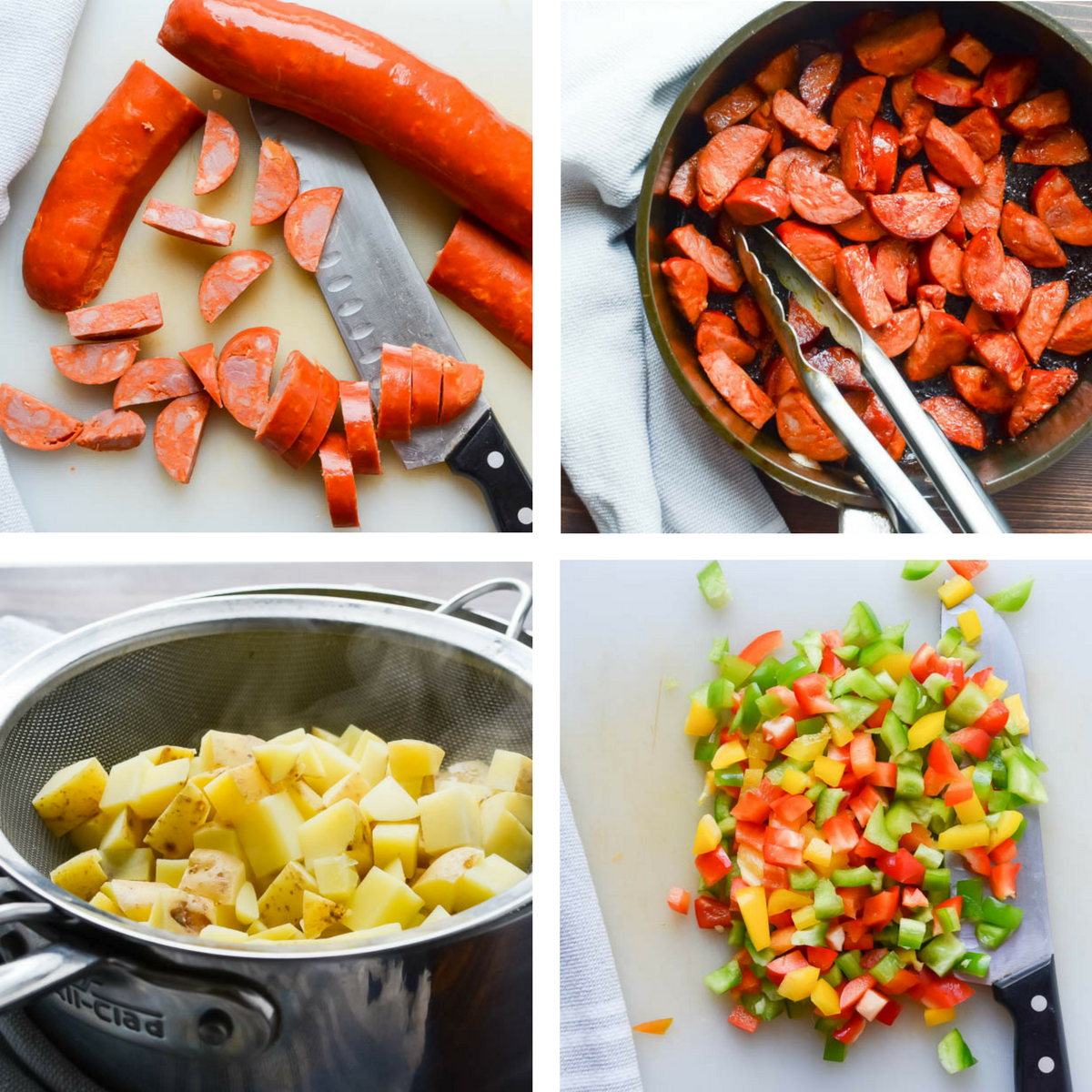 collage of kitchen prep for Spicy Chorizo Hash.