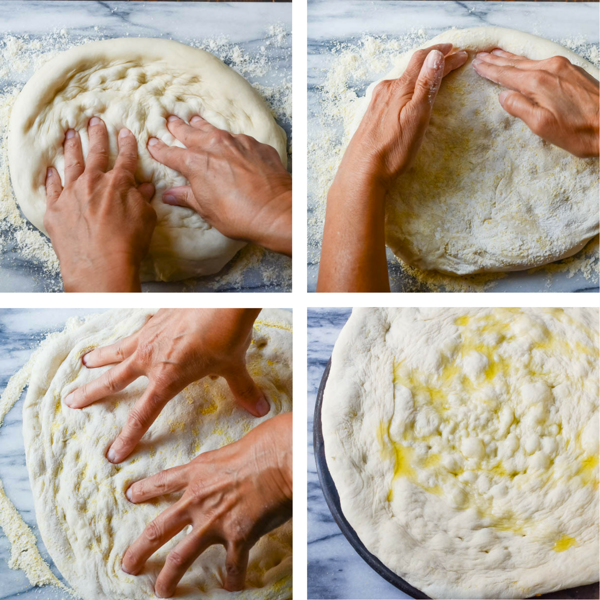 Collage of how to form pizza dough.
