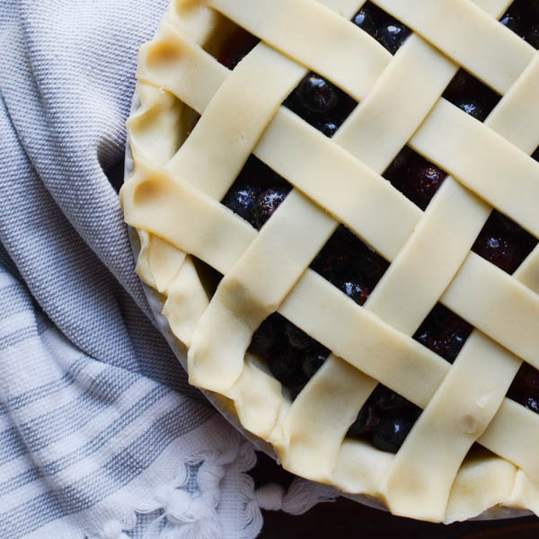 crimped edges of Summer Cherry Berry Pie